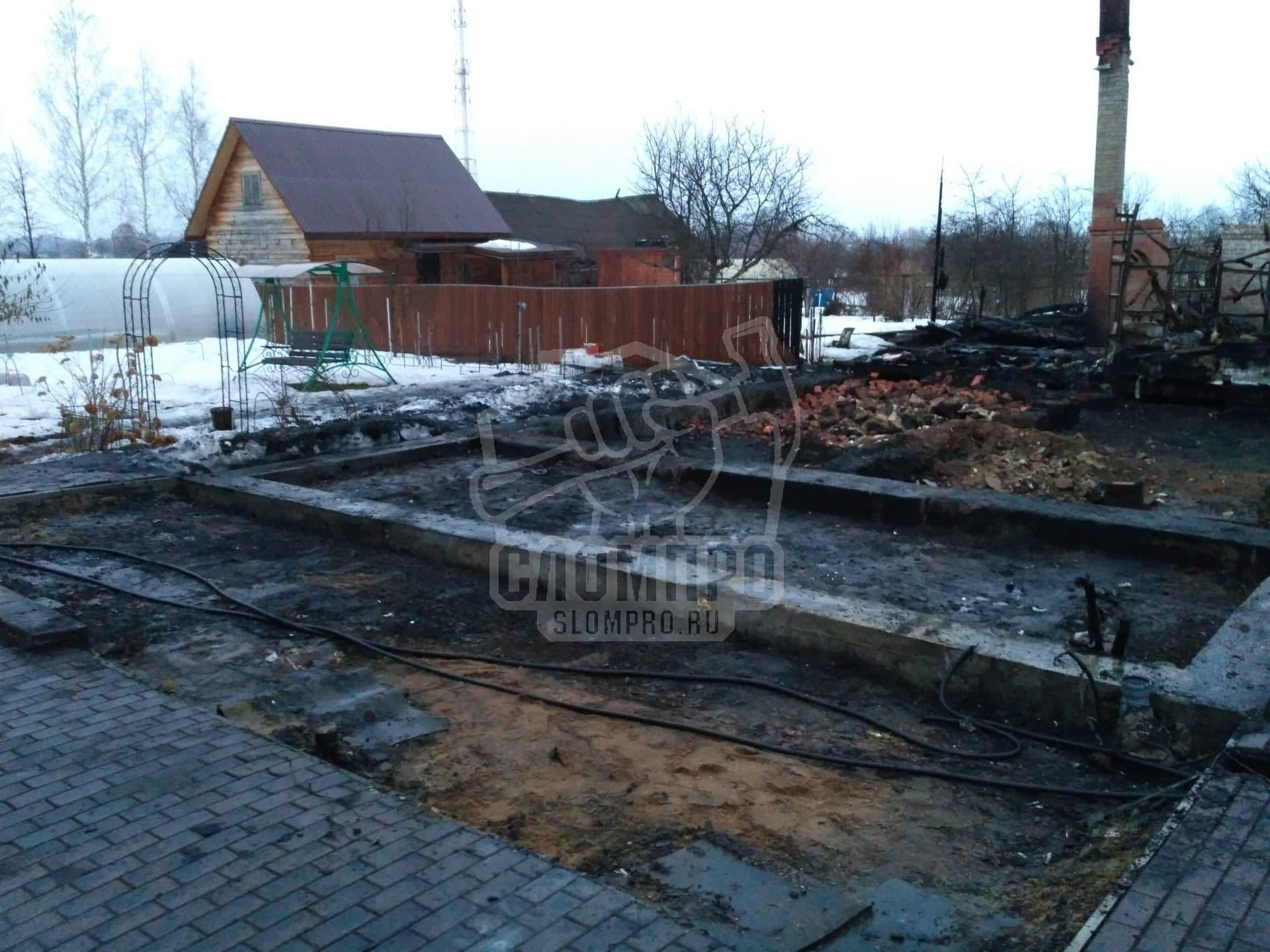 Результат расчистки участка после пожара в Малино