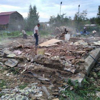 Подготовка фундамента к демонтажу трактором