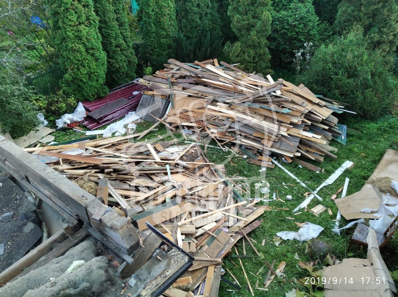 Количество строительного мусора при демонтаже щитового дома