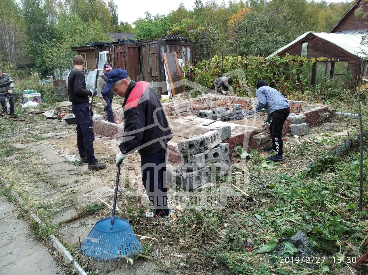 Расчистка фундамента от строительного мусора