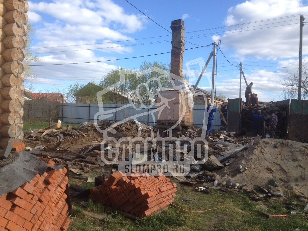 Фундамент и печка до демонтажа